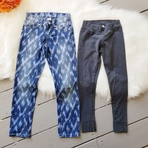 JUSTICE Ikat Jeans Jeggings Leggings Lot Girls 6/7